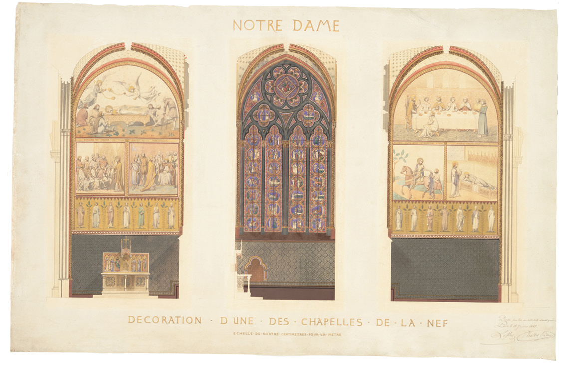 above Eugène Viollet-le-Duc, as photographed by Nadar, 1872-1878. below A watercolour plan for Viollet-le-Duc's renovation of a chapel in the nave of Notre Dame, Paris,