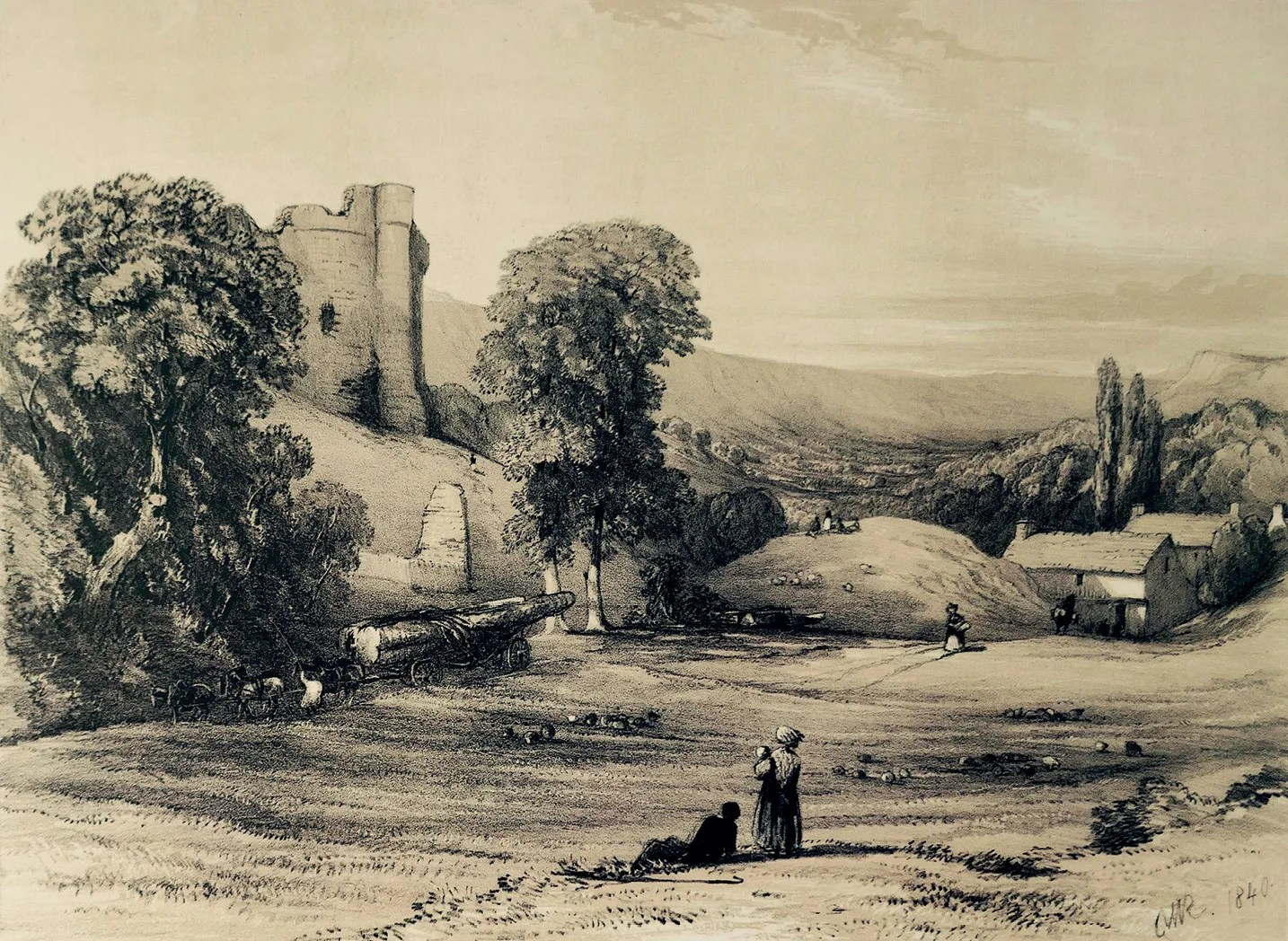 left This Romantic view of Longtown Castle by Charles Walter Radclyffe, published in Picturesque Antiquities &c. of the County of Hereford (1840), shows sheep grazing on Castle Green and a timber wagon passing by, pulled by a team of six horses. The Skirrid appears on the far right-hand side, and Offa's Dyke runs along the top of the high ridge across the background of the picture.