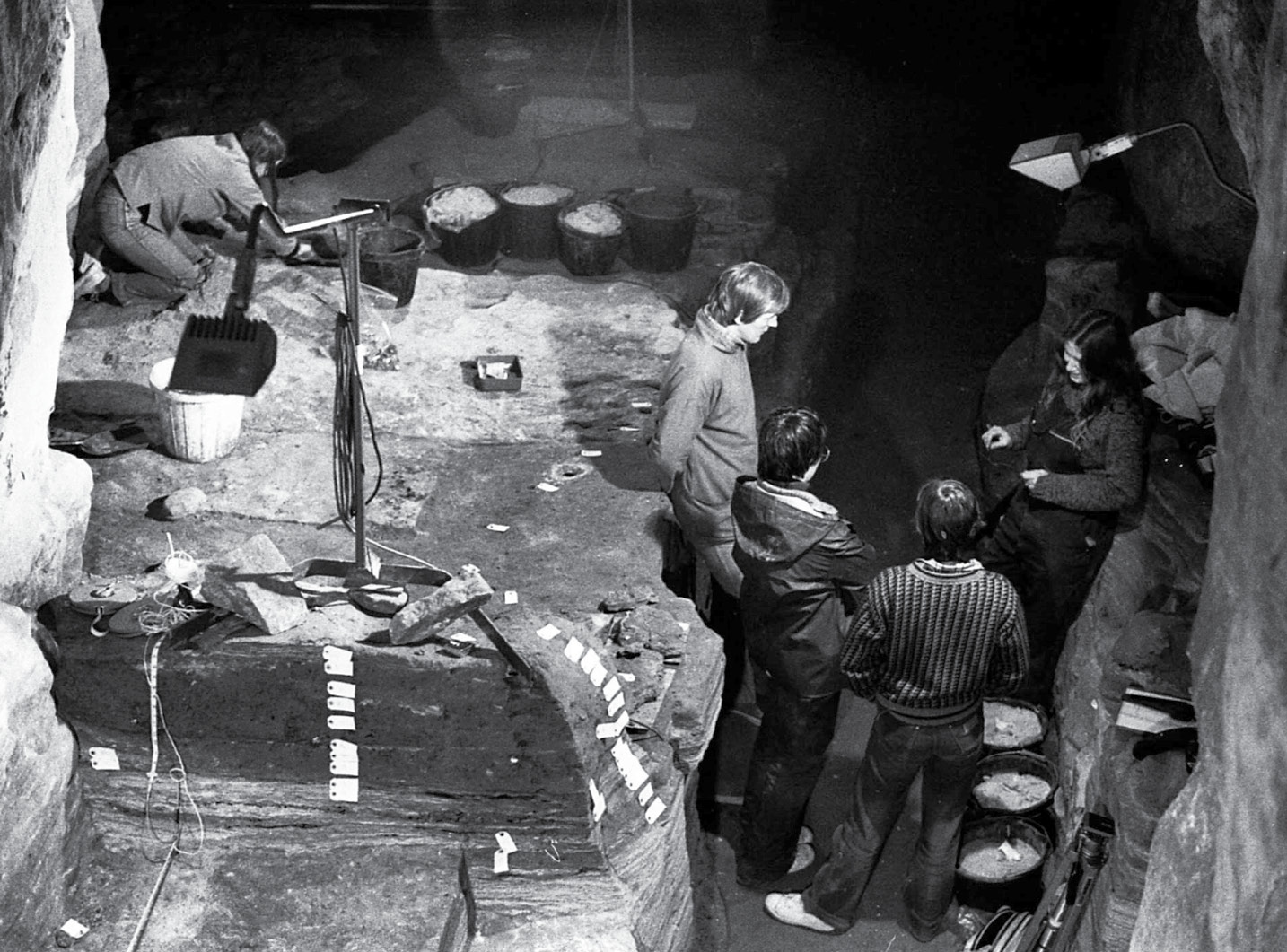 left Ian and Lekky Shepherd worked at the site in 1979. This photograph shows their investigations in the western entrance passage.