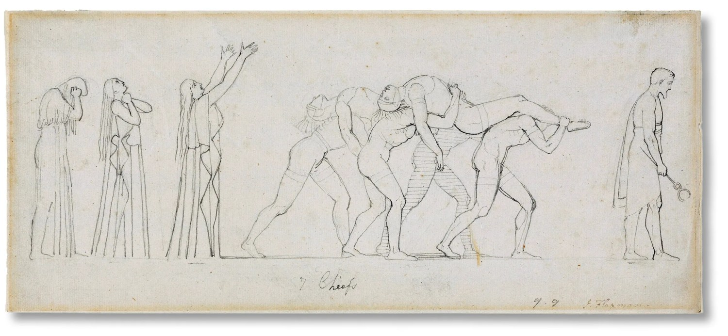 opposite John Flaxman, Seven Chiefs Against Thebes, 1775-1826. Pen, grey ink, and graphite on paper.