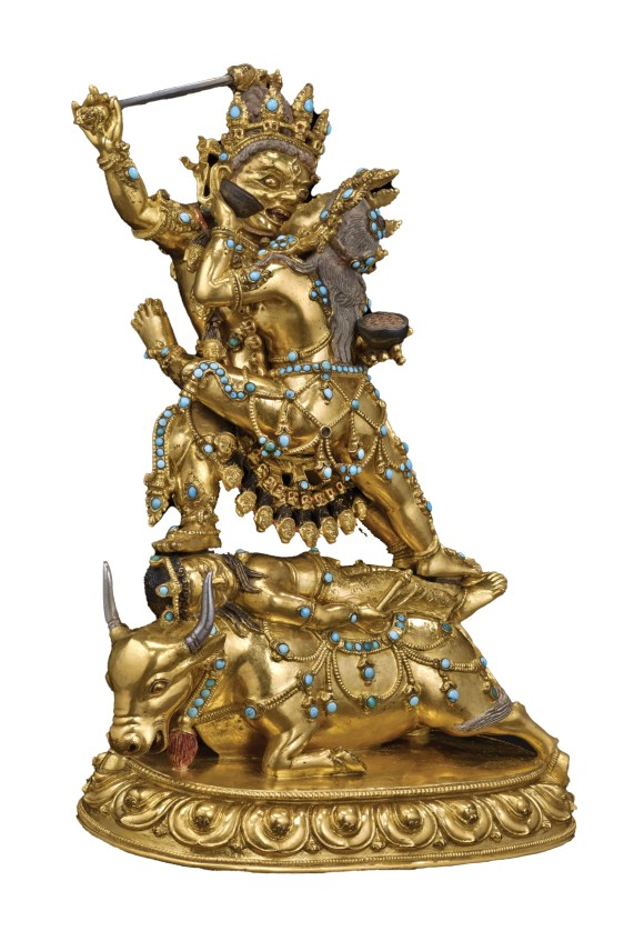 LEFT Tantric imagery often involves levels of symbolism. This Tibetan bronze from 1500-1600 shows Raktayamari in union with Vajravetali, while standing on Yama, the Hindu god of death. The first two represent the union of compassion and wisdom, while their treatment of Yama shows them transcending death.