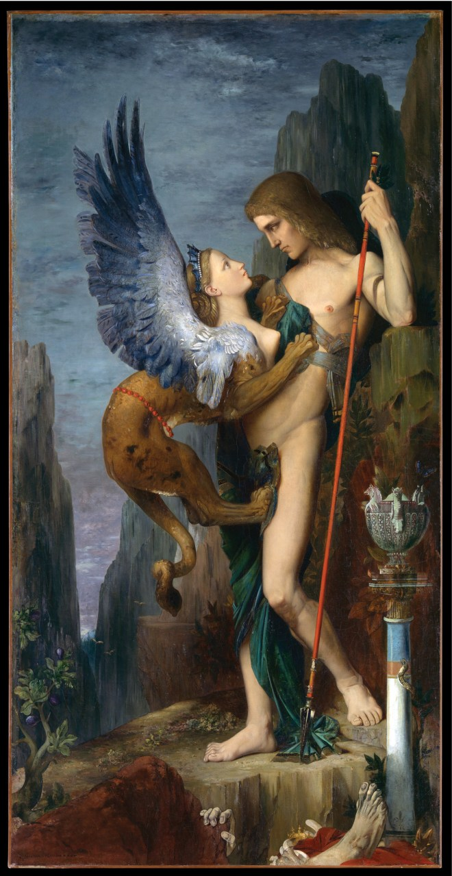 below Gustave Moreau, Oedipus and the Sphinx, 1864. Oil on canvas.