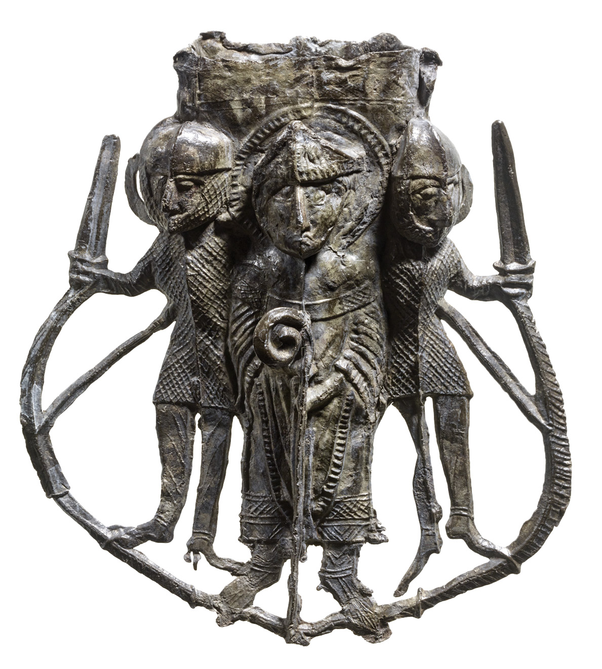 BELOW Ampulla, or flask, for St Thomas's Water, showing Becket between two knights, 13th century. Lead-tin alloy. Size: 10 x 8.7 x 2.8cm