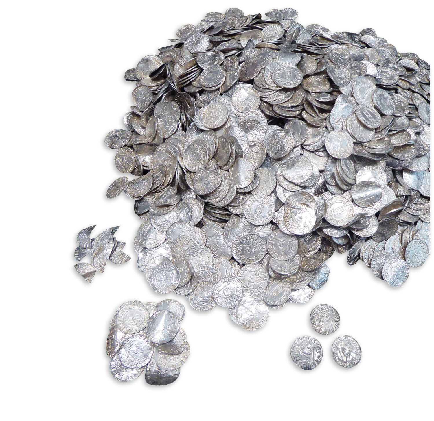right Found in Somerset farmland, the Chew Valley hoard is the largest-known coin hoard dating from the immediate aftermath of the Norman Conquest. This photo shows just a sample of its more than 2,500 coins.