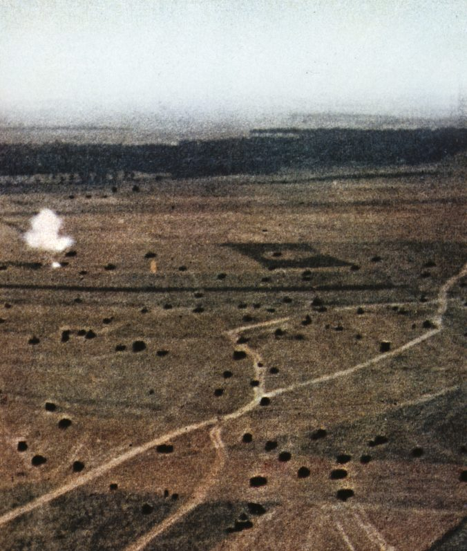 ABOVE A rare aerial colour photo of German armour moving into action on the first morning of the Battle of Kursk.