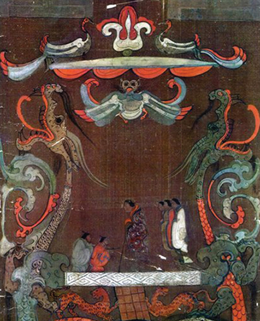 RIGHT Xin Zhui (shown in the centre) was portrayed on her silk tomb banner with her retainers. Although only in her 50s,