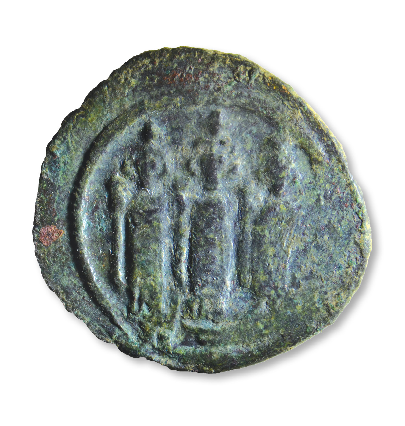 RIGHT An early Islamic coin found in a coin hoard in the House of the Scroll. It depicts three caliphs with long robes and headgear featuring crosses. This motif is based on Byzantine representations of bishops.