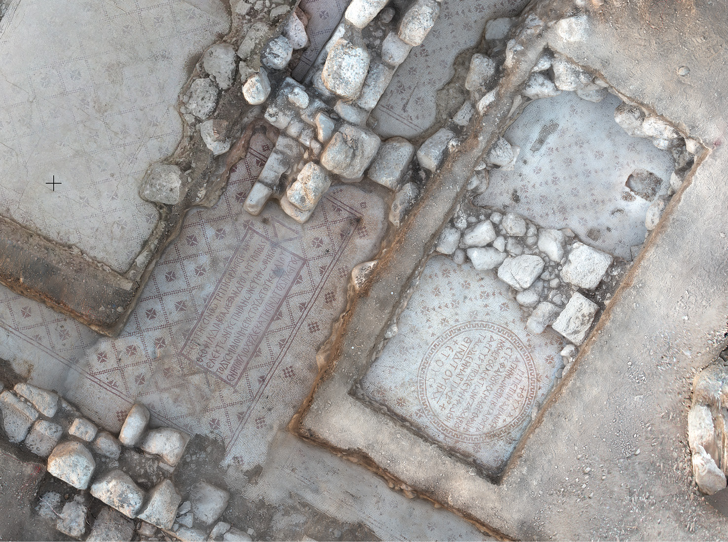 BELOW The mosaics in the 'Mosaic Hall'. Inscriptions date the floor to AD 576 and AD 591.