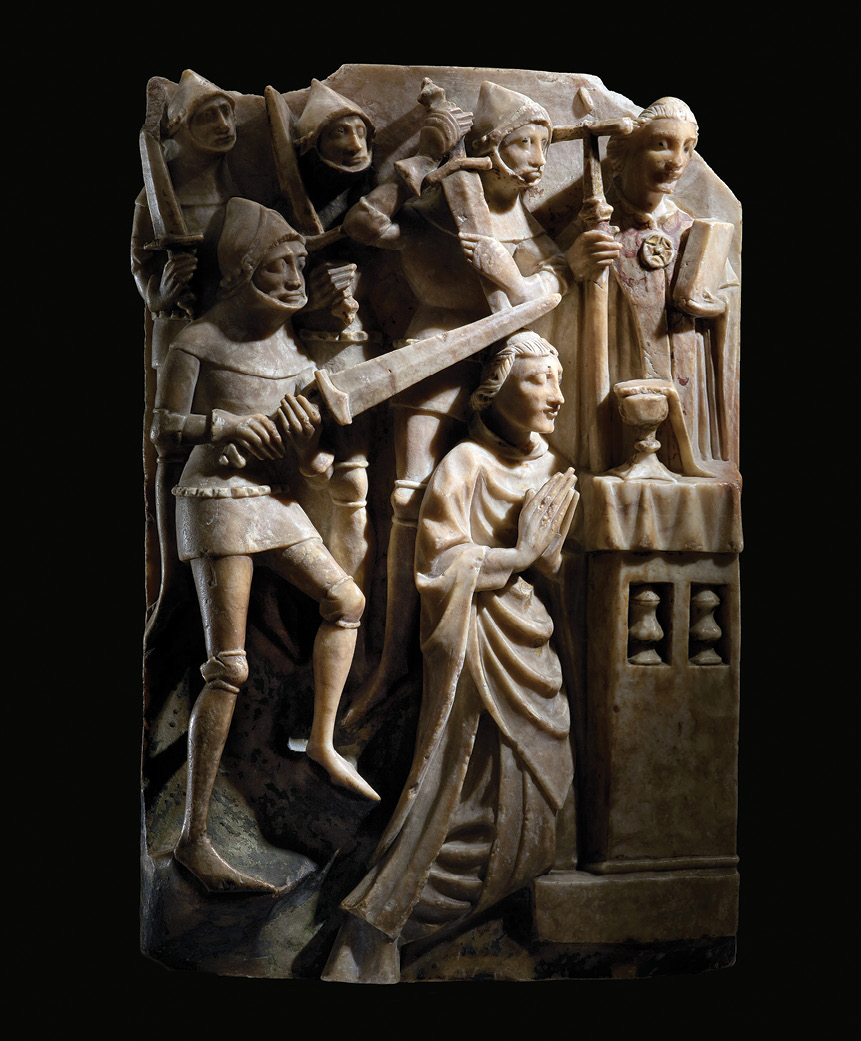 below Becket's story was a popular theme in medieval art, from sculpture (this alabaster scene dates from c.1425-1450) to manuscript illustration, and even in poetry and song. Chaucer's Canterbury Tales (1387-1400) is the best-known literary production, but numerous folk songs, carols, and hymns were written in honour of 'the greatest cleric in all this land/Of Canterbury you understand/Slain he was with wicked hand/By the power of the devil'.