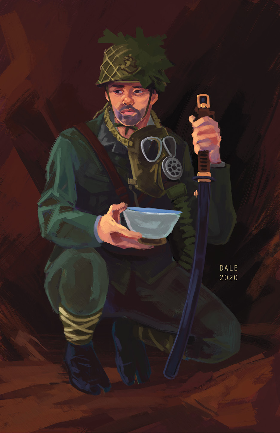 RIGHT A painting of an SNLF soldier by Cassandra Dale. He is equipped with some of the artefacts found at Teme, including a Type 93 No. 3 gasmask, Type II/III Navy helmet, and