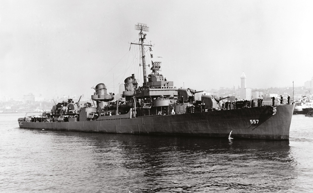 LEFT USS Johnston in Seattle in October 1943, a year before her sinking.