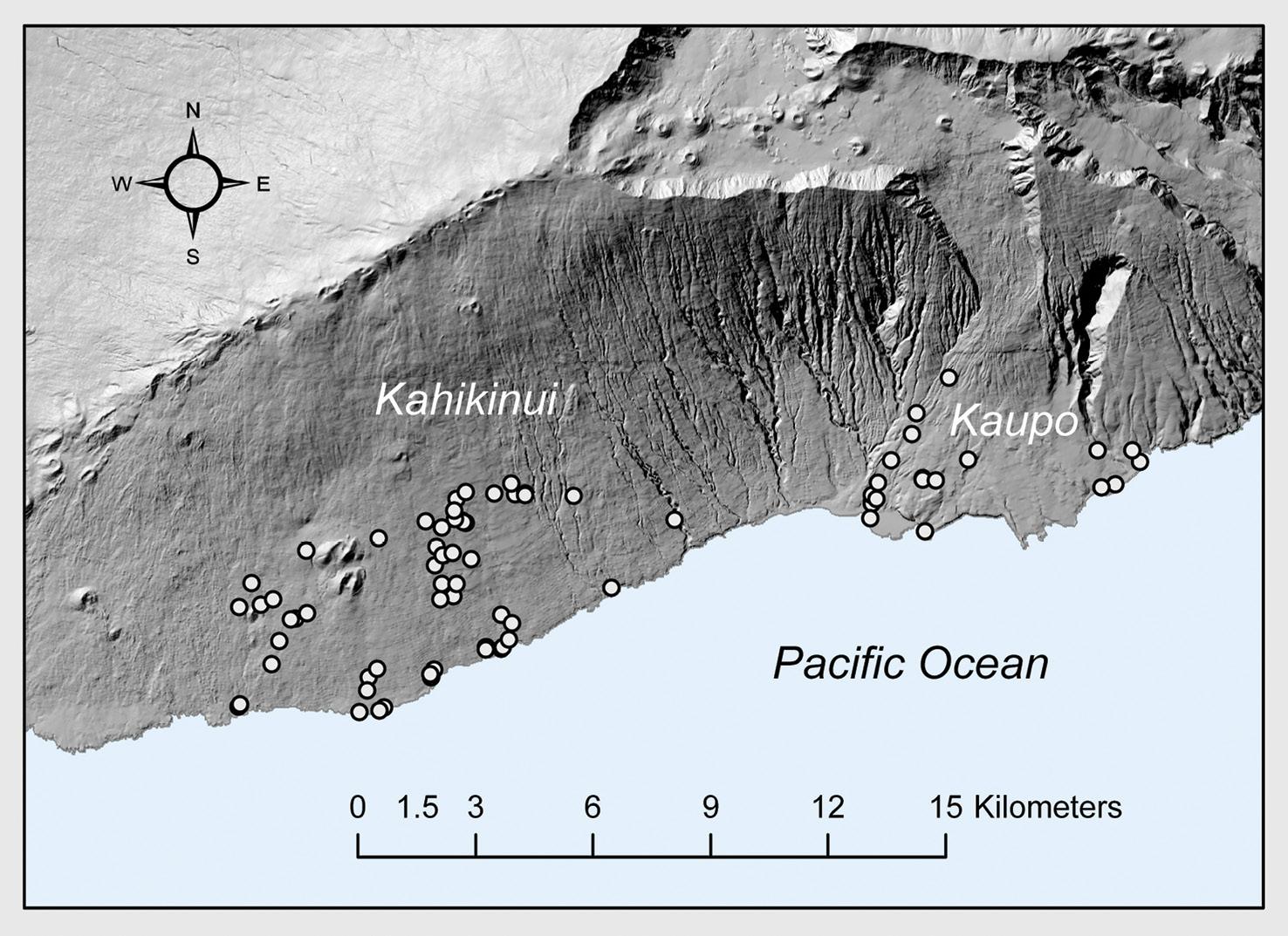 above The location of heiau sites in Kahikinui and Kaupō districts on Maui.
