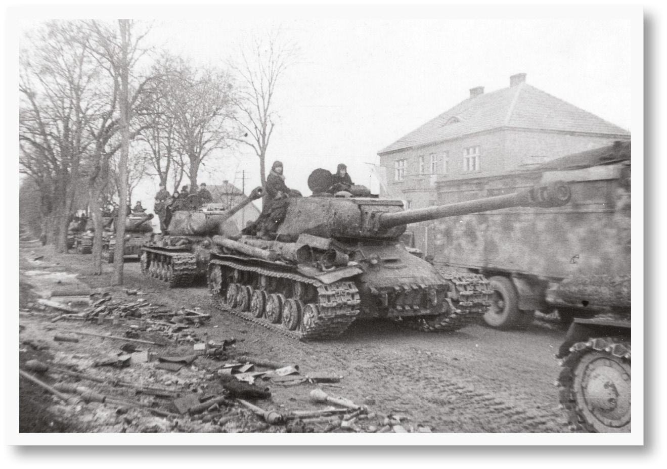 Soviet armour. The T-34 medium main battle tank [below], the Joseph Stalin Mark II heavy tank [left], and the KV-85 heavy tank [bottom left].