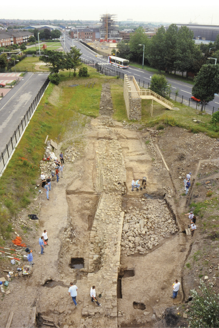 below Excavating the line of Hadrian's Wall at Wallsend, just west of the fort.
