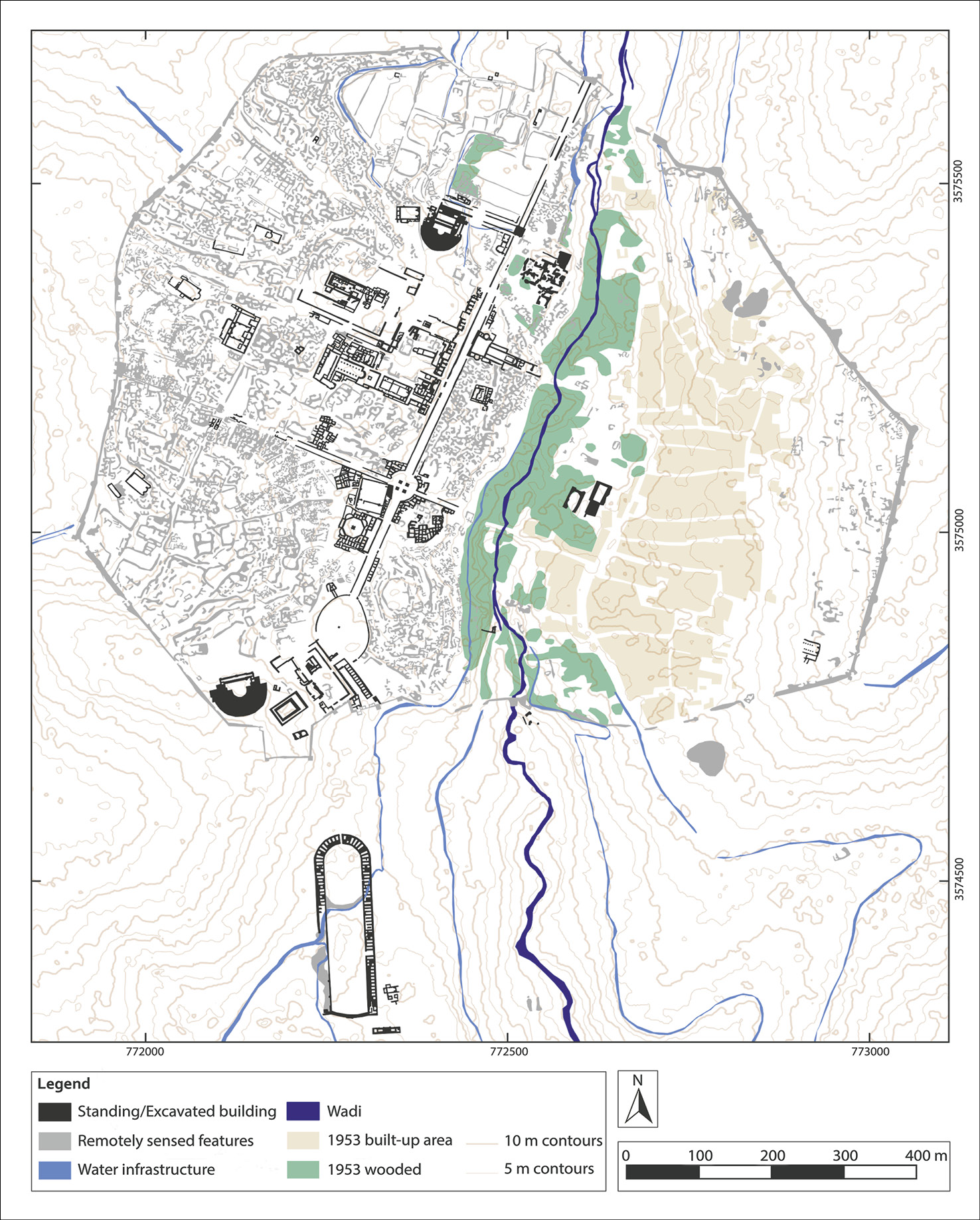 LEFT A map depicting Jerash as currently understood, showing structures known from excavation and remote sensing, as well as the modern built-up area.