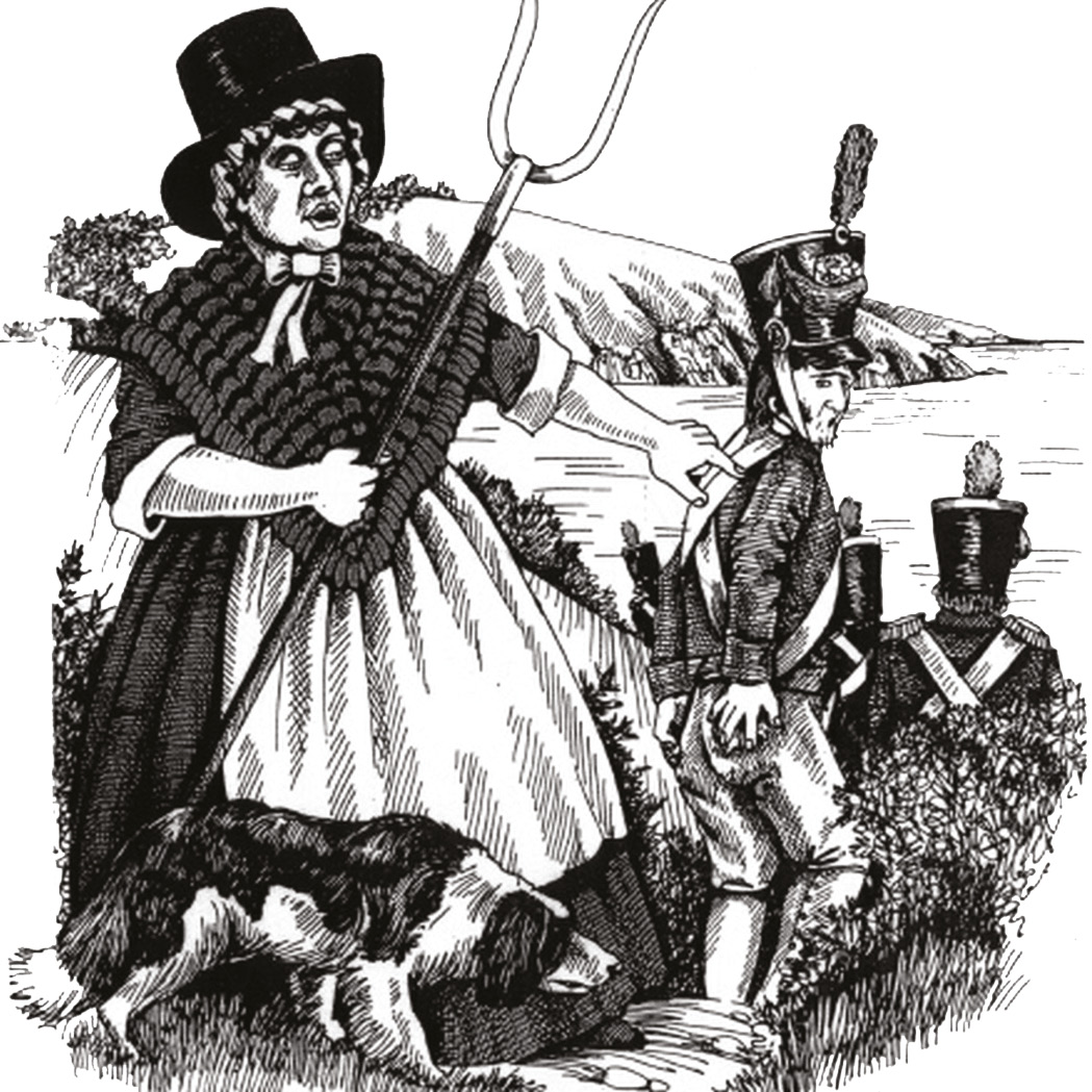 BELOW The local Welsh mobilised against the invaders, led by womenfolk wearing traditional costume. Jemima Nicholas [LEFT], who seems to have captured a dozen or so Frenchmen at the point of a pitchfork, became a local folk legend.