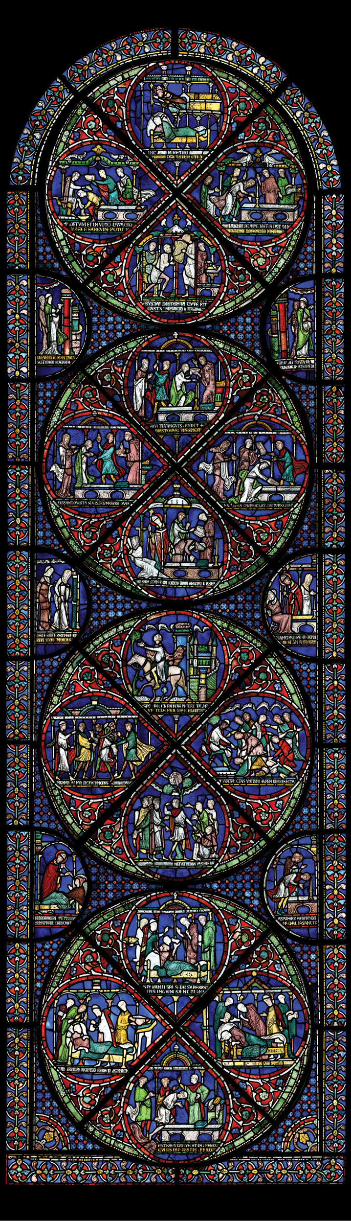 above Becket's tomb is depicted in the Miracle Windows as it appeared before the cathedral was rebuilt and his remains were translated to a new and more elaborate shrine on 7 July 1220. The sides of the protective marble chest were pierced by oval portholes (coloured blue in this depiction) through which pilgrims were able to touch Becket's coffin.