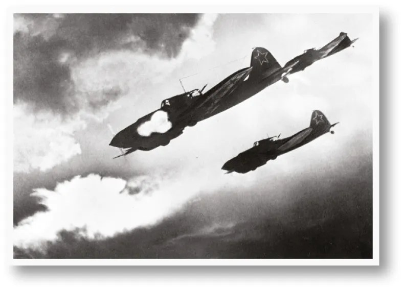 Soviet firepower. A squadron of Ilyushin II Shturmoviks launch an air-to-ground attack [above], a Russian field gun in action [above right], and a Katyusha multiple rocket-launcher [right].