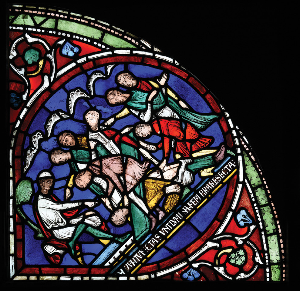 right Depicting one of the most popular of the Becket miracle stories, the seated judge (dressed in white) orders the wrongly accused Eilward to be punished by blinding and castration. His eyesight and genitals were both restored through Becket's miraculous intervention.