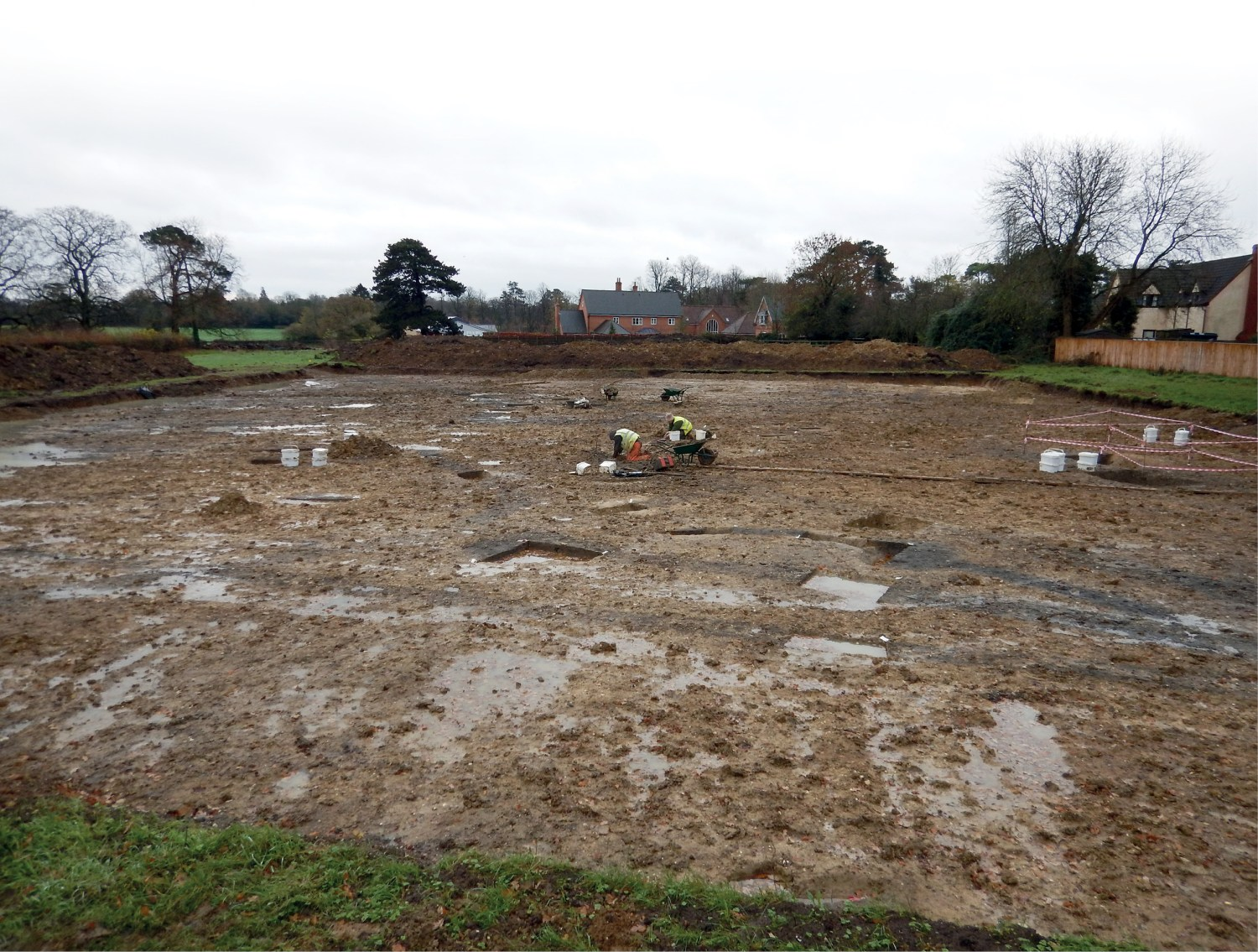 OPPOSITE Overlooking the remains of an Anarchy-period smithy excavated by Headland Archaeology. Once a vital asset to Cheveley's 12th-century villagers, today its outline is preserved through foundation trenches and post-holes.