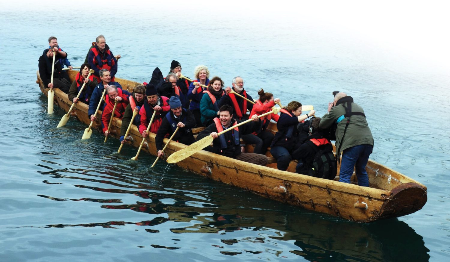 BeLOW Morgawr, a full-scale reconstruction of the Bronze Age boat 'Ferriby 1', makes her maiden voyage in Falmouth Harbour.