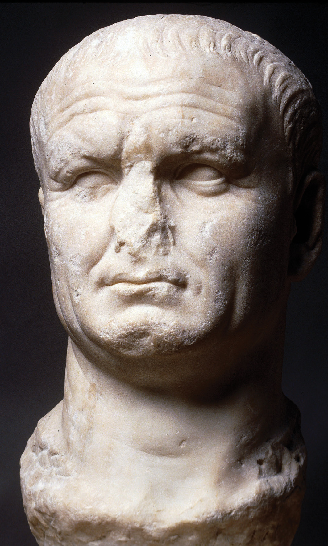 right Portrait head of Vespasian from Carthage, Tunisia, carved from a head of Nero. Marble, AD 70-80. Size: 45.7 x 26 x 23.5cm