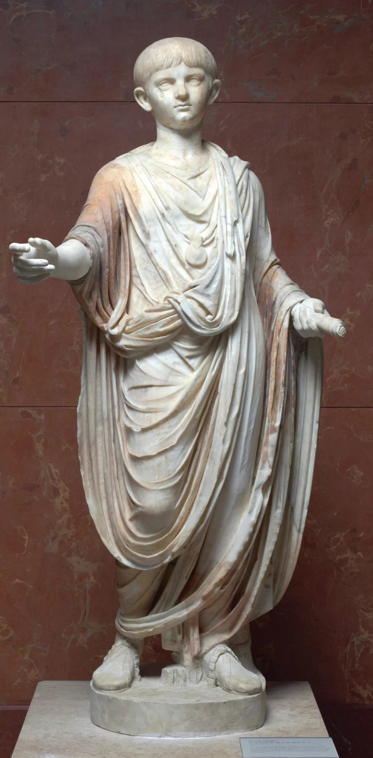 below Nero as a boy. Marble, AD 50-54 (the left hand and right lower arm are modern restorations). Size: 140 x 67 x 44cm
