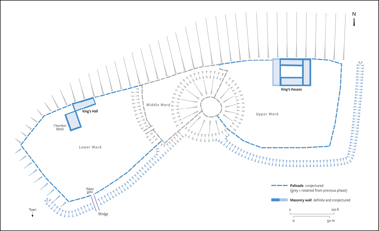 left A conjectural plan of the castle as it may have been extended by Henry I, c.1105-1110.