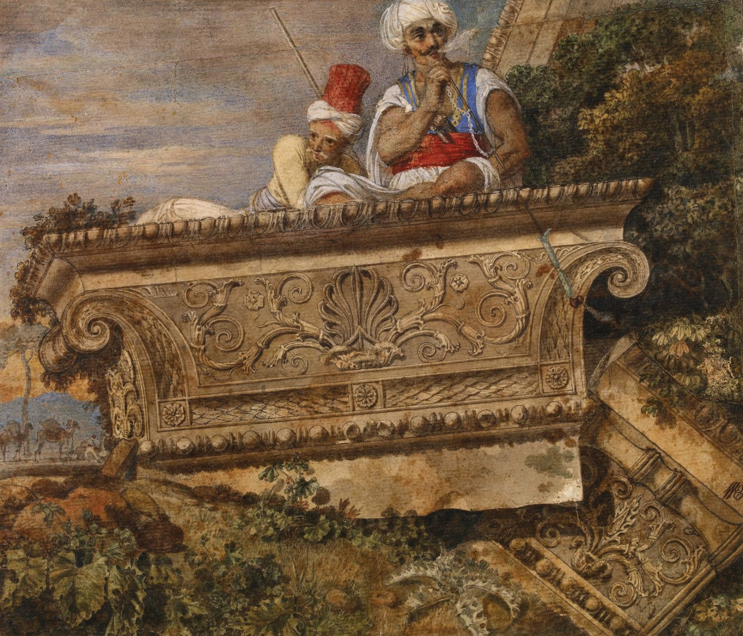 BELOW Capital of one of the antae from the temple of Apollo at Didyma, October 1765. Watercolour and body colour, with some pen and grey ink; made up of several small pieces of paper stuck together. Size: 180 x