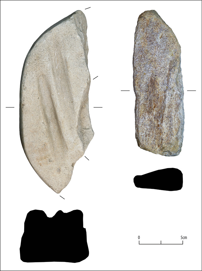 BELOW Stone tools that may have been used during the smithy's operation: a hone stone and a piece of broken quern stone that had been used for sharpening points.