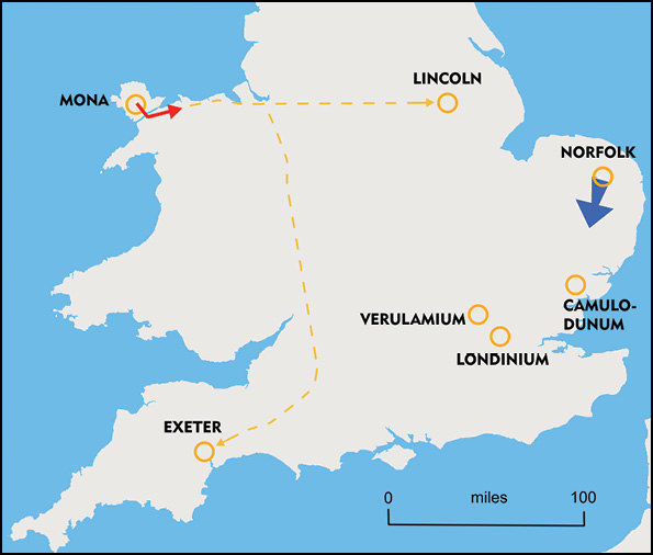 2. Suetonius Paulinus catches wind of the British rising. He sends a message to Cerialis, commander of Legio IX in Lincoln, to move quickly to Colchester (Camulodunum) to protect the town. He also sends a message to Poenius Postumus, acting commander of Legio VI at Exeter, to move eastwards (we are not told where to) with reinforcements. Boudicca and her army leave for Colchester.