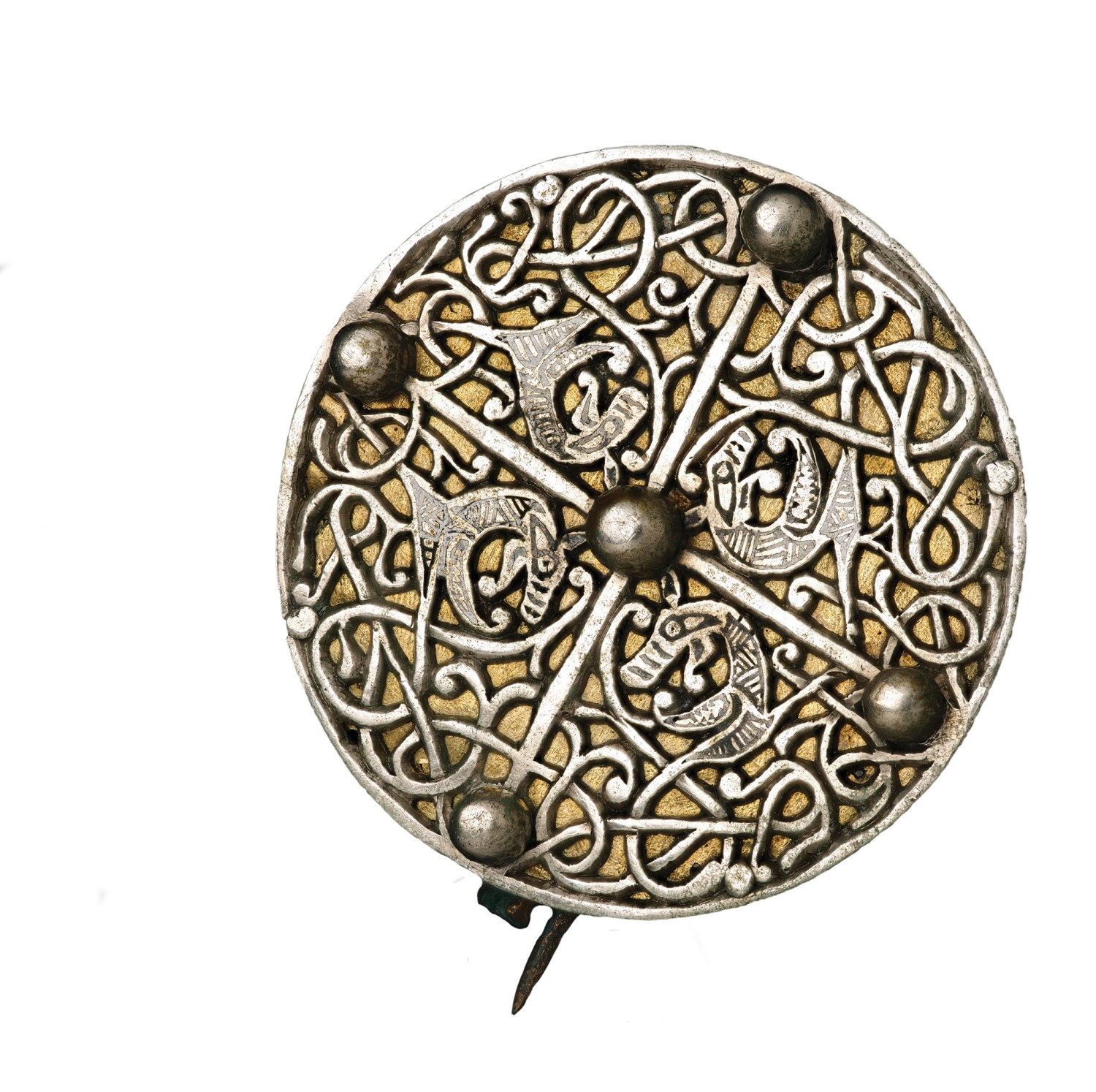 above A Late Anglo-Saxon silver disc-brooch from the lidded vessel in the Galloway Hoard.