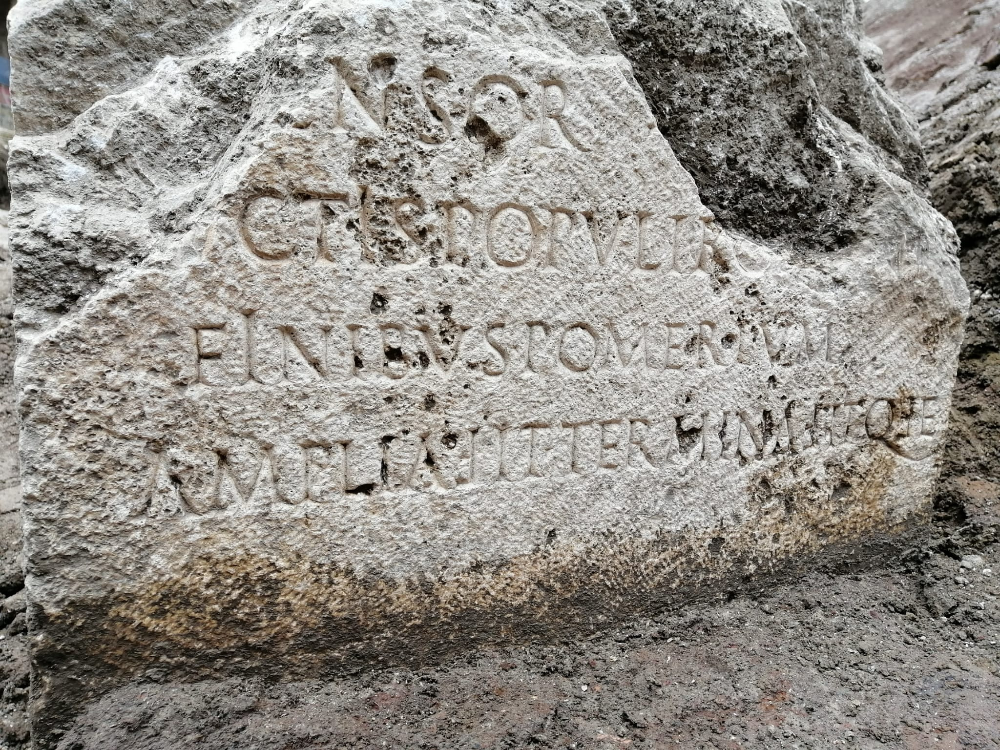 Rare stone marking the border of ancient Rome unearthed