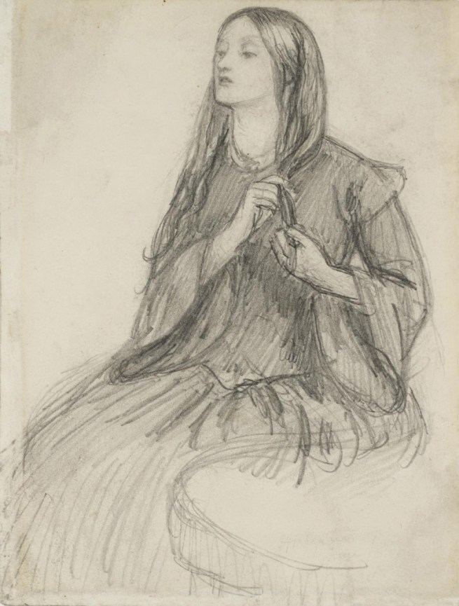 LEFT A sketch by Dante Gabriel Rossetti of Lizzie Siddal, his wife. After her death, he reopened her grave in order to retrieve a bound manuscript of his love poems that he originally buried with her.