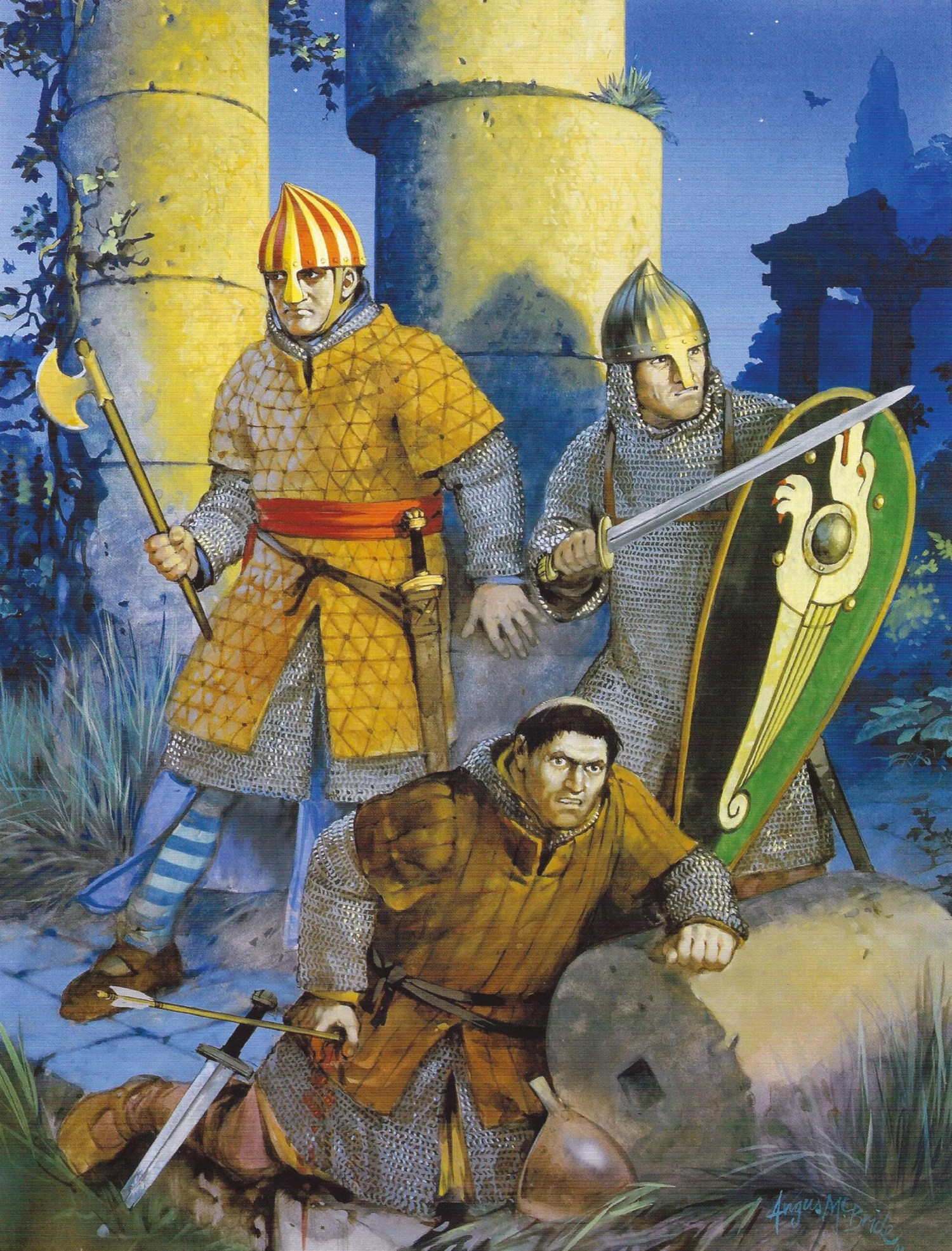 left Norman soldiers in Sicily. An imaginative reconstruction by Angus McBride. The campaign of conquest was a triumph of elite feudal chivalry over much larger numbers of lightly equipped warriors.