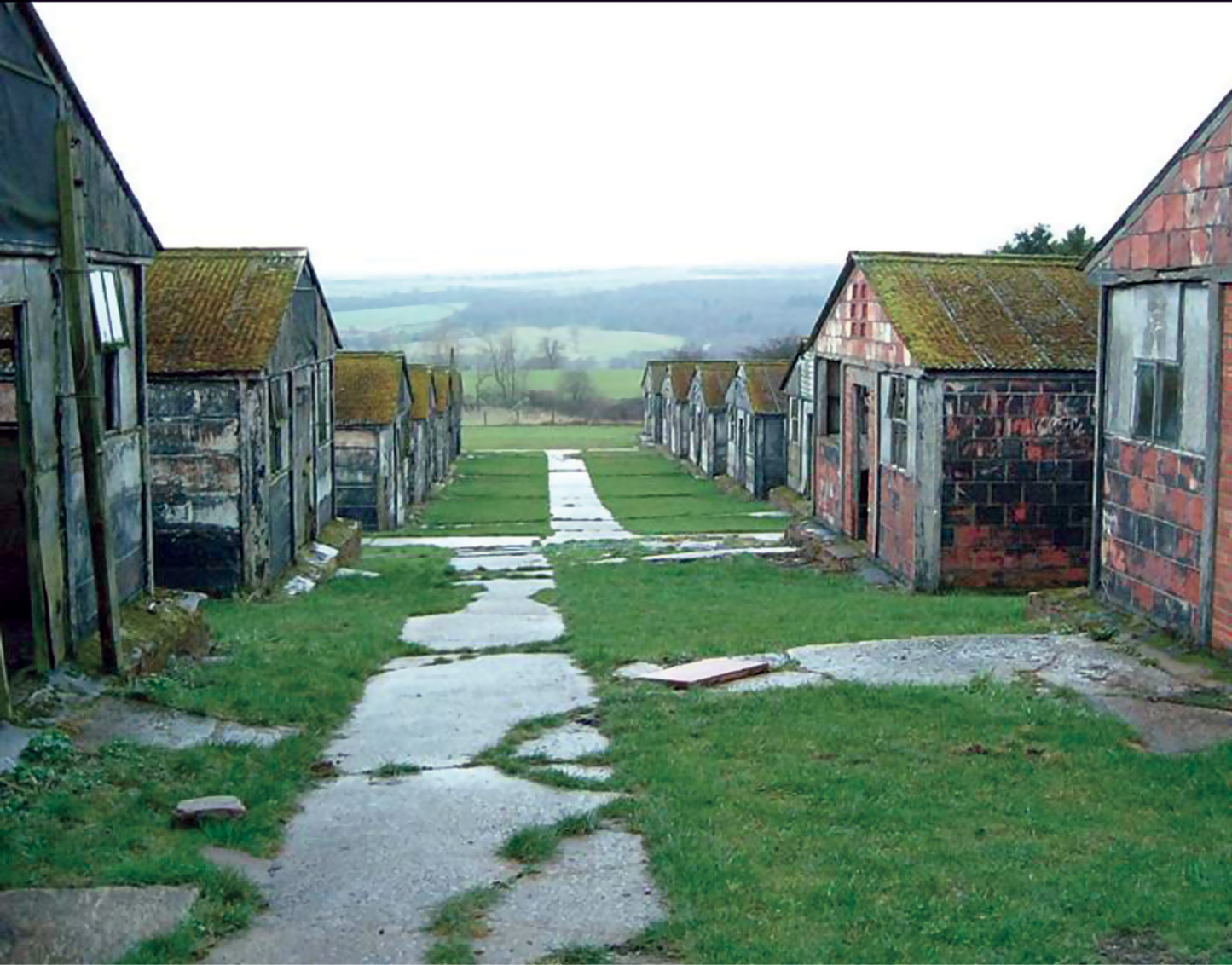 ABOVE These huts, which once provided a home for German prisoners of war, are now in urgent need of preservation.