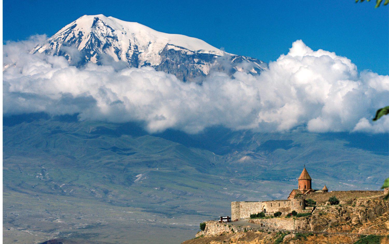 below The view from Khor Virap monastery in Armenia looks across to Mt Ararat in Turkey.