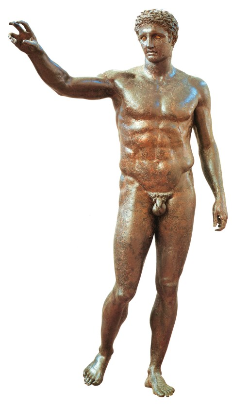 LEFT & ABOVE The ship probably sank in around 65 BC and was transporting a range of striking objects, now in the National Archaeological Museum in Athens, including this bronze statue of a youth, a bronze head of a philosopher, and this glass bowl. (Not shown to scale.)