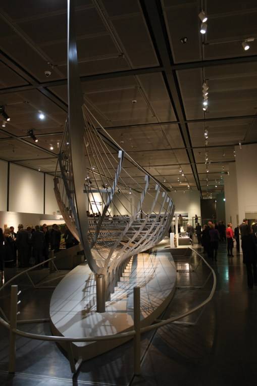 left The partial remains of Roskilde 6, the longest Viking warship yet discovered, on display at the British Museum during their Vikings: Life and Legend exhibition (CA 290). This ship is of the right date to have formed part of Cnut's invasion fleet.