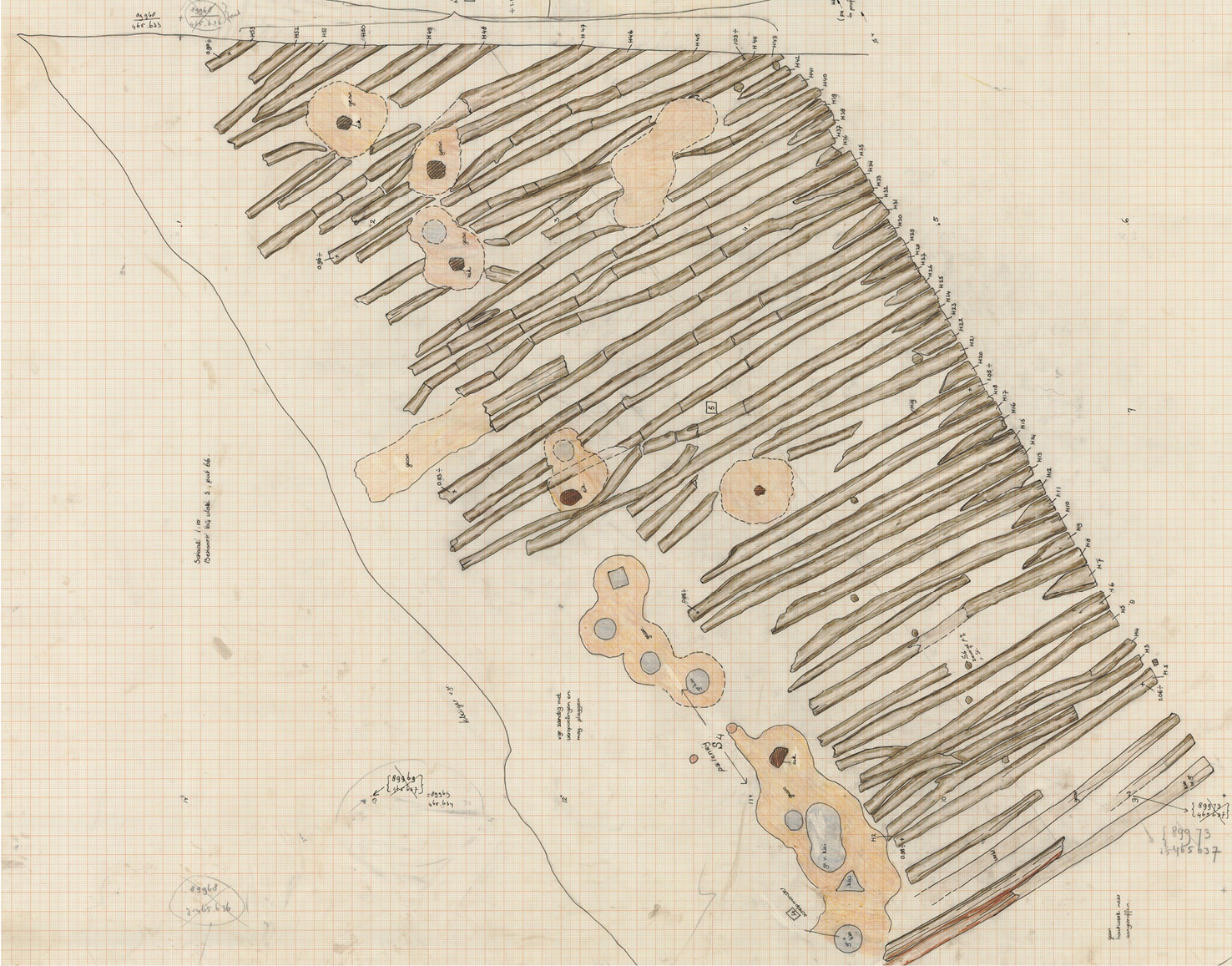 below Various features recorded on field drawings made during the 1986 work at Marktveld can now be seen in a new light, including the rampart (top) and the remains of half a tower (arrowed, bottom). The latter drawing also shows the road dating to the reign of Hadrian.