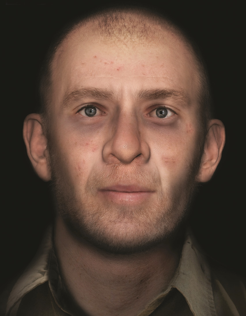 below A facial reconstruction of the individual known as A7, by Face Lab.
