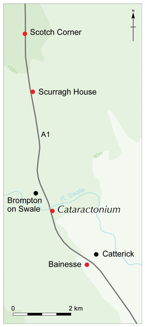 above & right These plans show the location of the excavated sites along the A1, and the layout of Roman Cataractonium.