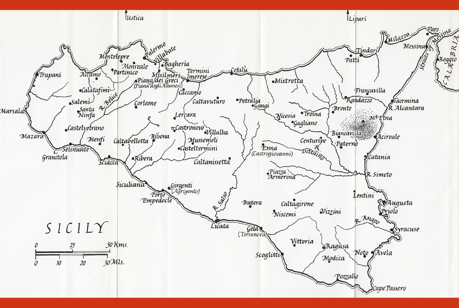 below Map of Sicily showing the major towns. The Battle of Cerami was fought close to Troina, which at the time lay on the border between Norman territory to the east and Arab territory to the west. Norman possession of the town protected the Norman supply-line back to southern Italy via the Straits of Messina, and provided a launch-pad for raids into Arab territory.