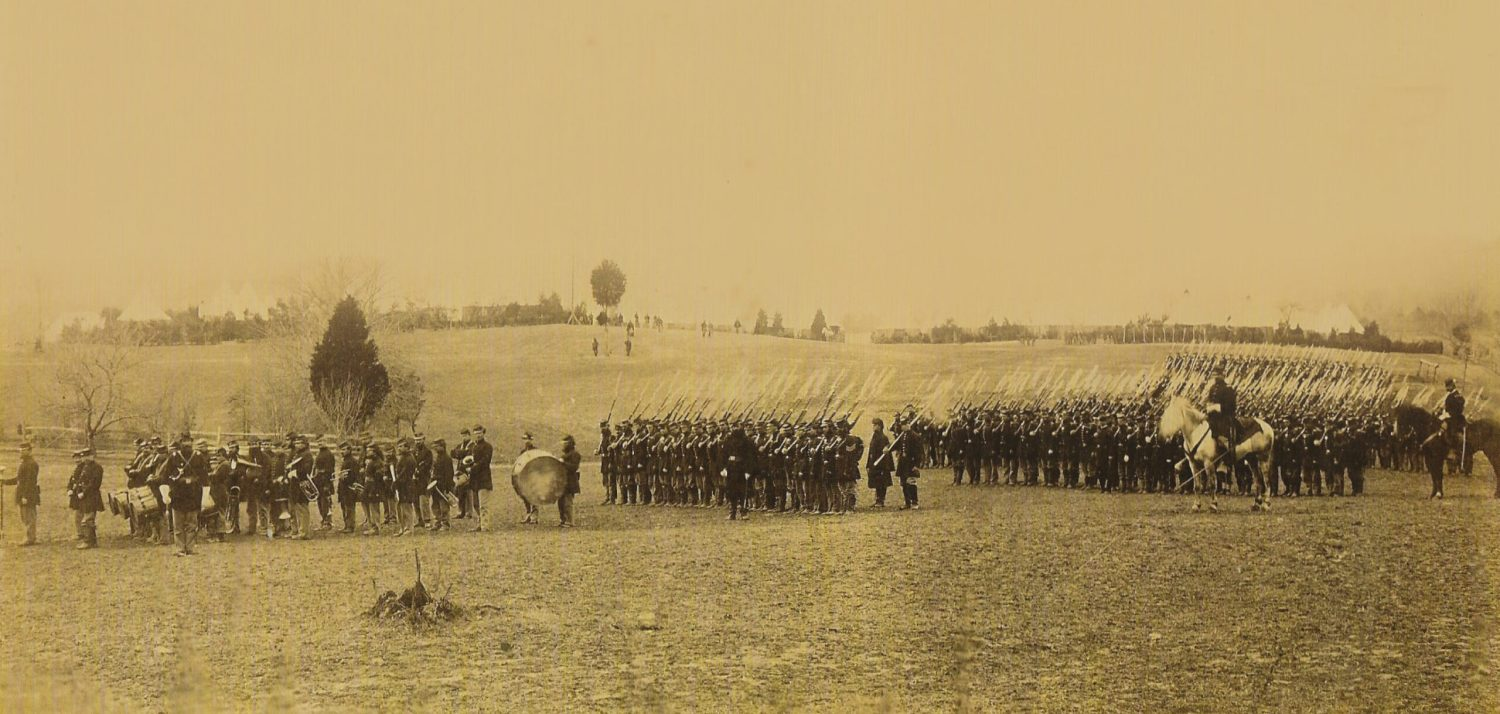 BELOW Union soldiers drill at Camp Brightwood near Washington in 1862. McClellan created a fine army but only for show.