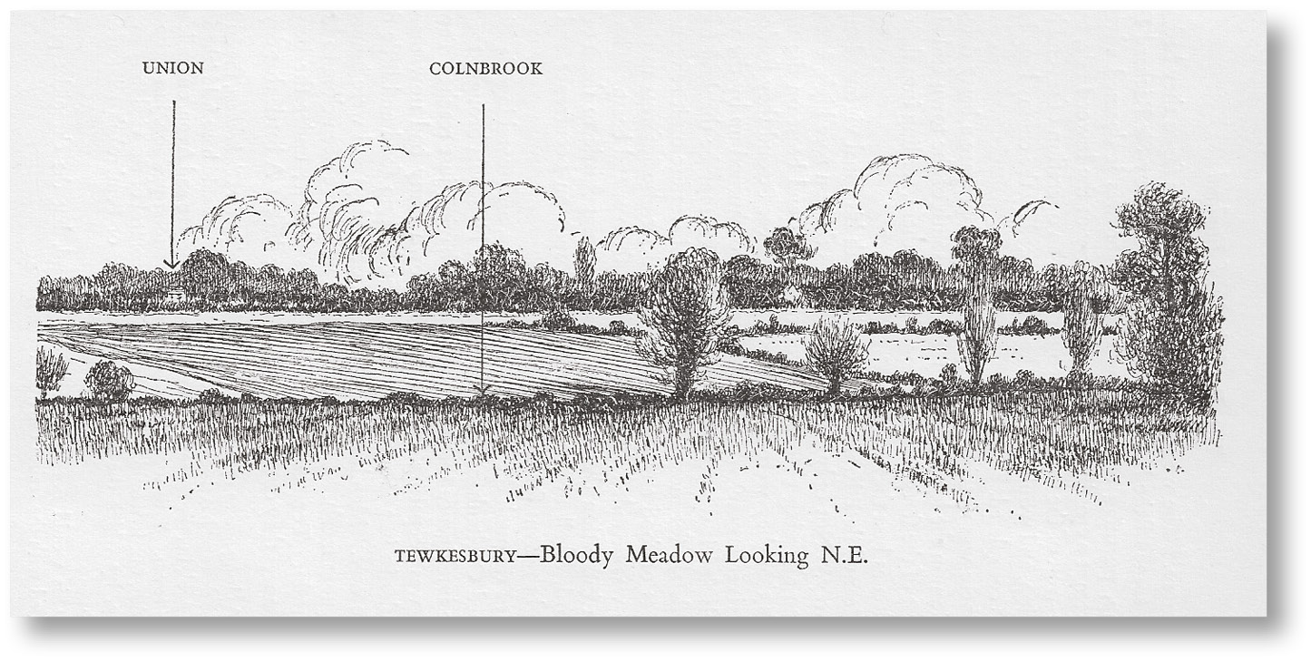 LEFT One of Burne's panoramas, in this case showing the 'Bloody Meadow' at Tewkesbury, 4 May 1471, where the Lancastrian rout turned into massacre as a dense mass of panic-stricken men waded through boggy ground.