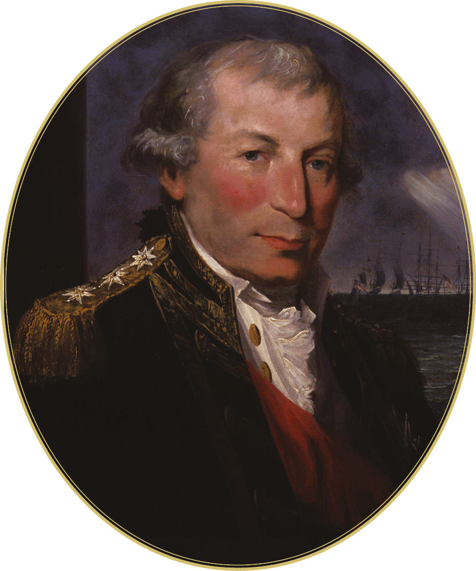 RIGHT The Battle of Cape St Vincent, 14 February 1797, with [inset] the British commander-in-chief, Admiral Sir John Jervis (1735-1823). Nelson showed initiative, daring, and courage at the battle, capturing two enemy vessels.