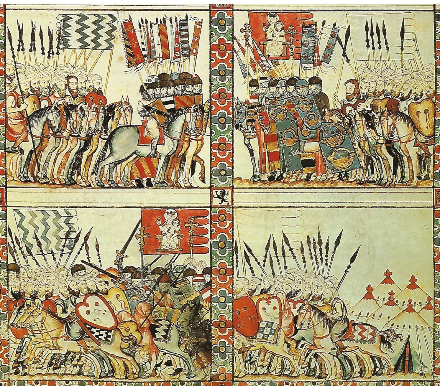 below This 11th-century illustration of fighting between Christians and Moors in Spain appears to depict a battle in which armoured knights were surrounded by more mobile light cavalry as seems to have happened at the Battle of Cerami.