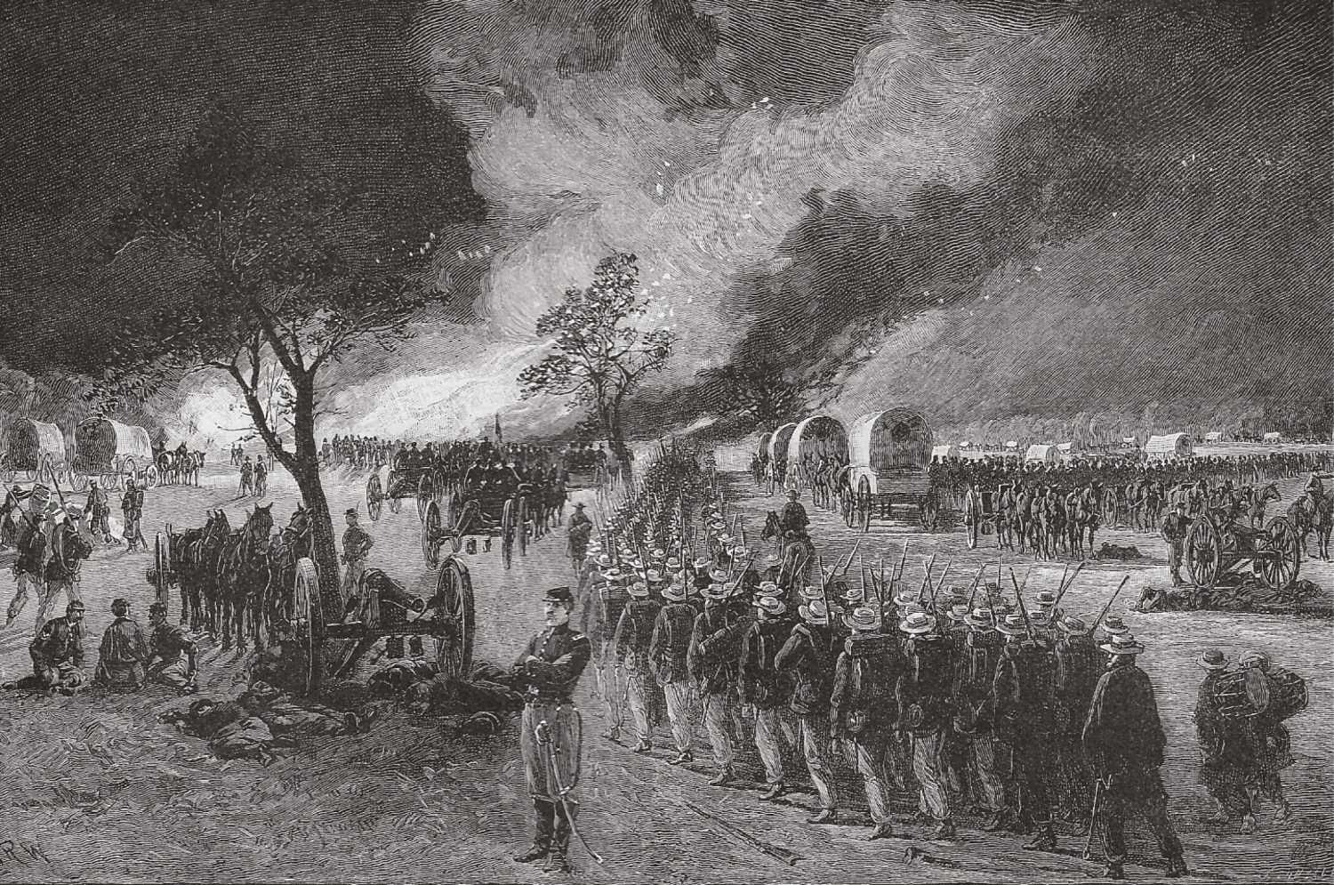 ABOVE McClellan's retreat from the Chickahominy River. The Confederates, outnumbered two to one, were falling back and on the brink of losing Richmond until Lee counter-attacked and McClellan went to pieces.