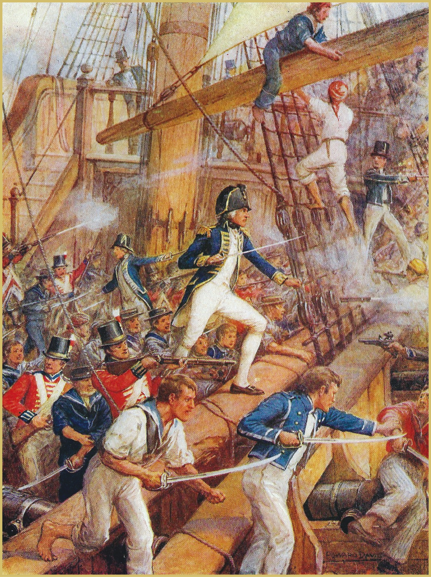 LEFT Nelson leads a boarding party as it storms the San Nicolas at the Battle of Cape St Vincent. Personal example and unstinting concern for the welfare of his men were hallmarks of his leadership.