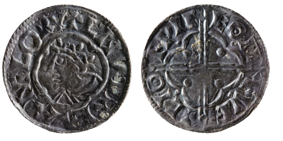 left Cnut minted three kinds of silver pennies in England, all very similar in design to their Anglo-Saxon predecessors: quatrefoil type (top left); short cross type (bottom left); and pointed helmet type (left).